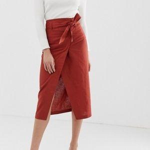 Asos Linen Wrap Skirt *Size 12